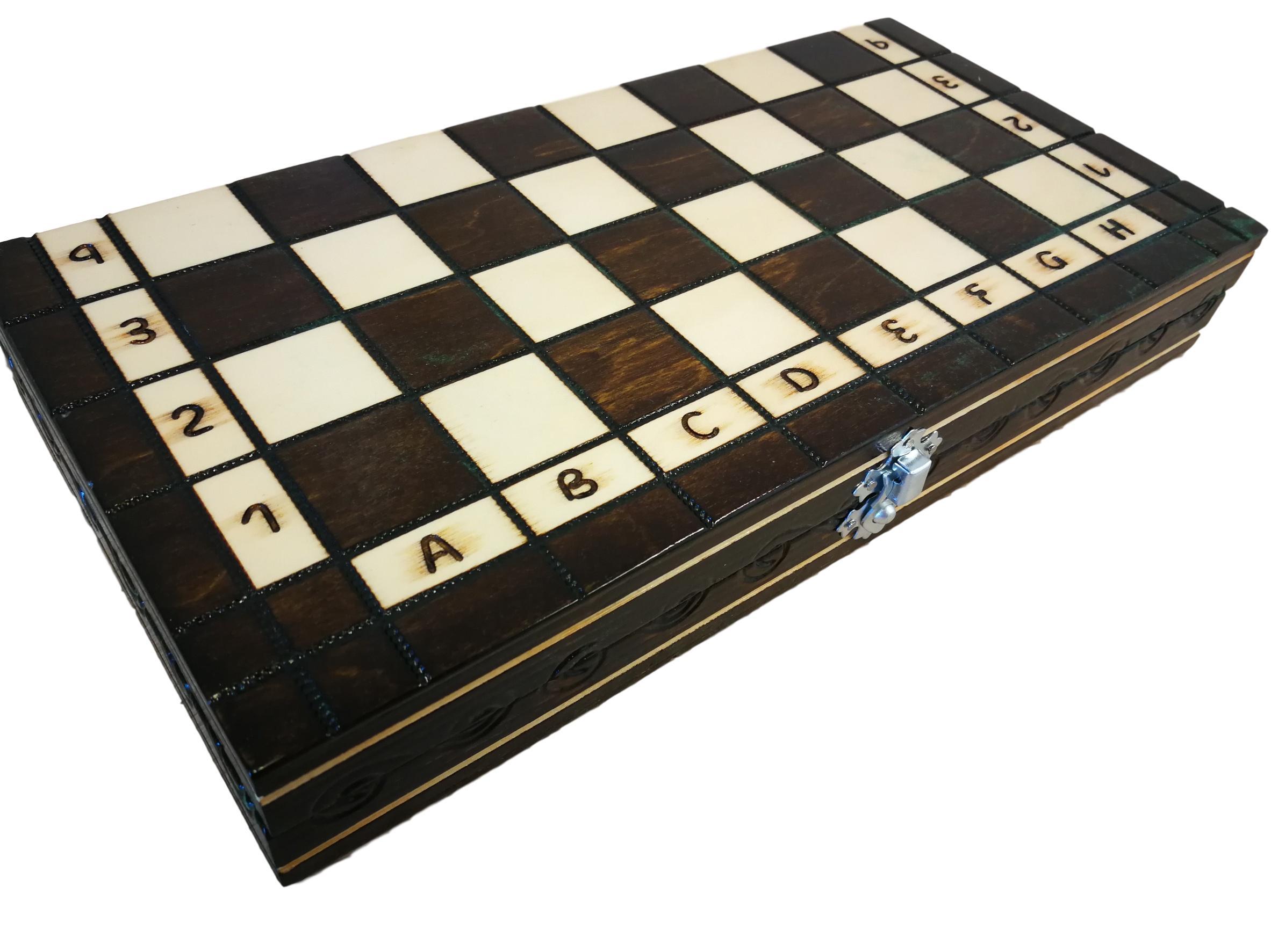 schachspiel schachbrett aus holz mit figuren edel handgefertigtes glanz 31x31 cm ebay. Black Bedroom Furniture Sets. Home Design Ideas